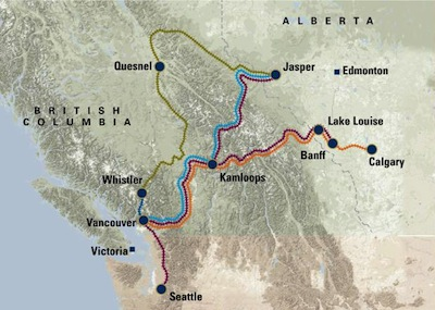 Rocky Mountaineer Train Routes - Washington (U.S.A.), British Columbia and Alberta