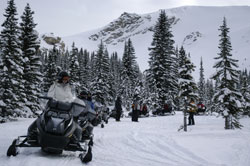 Snowmobiling from Banff